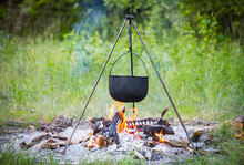 Tourist Kettle Over Fire
