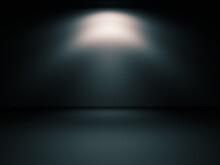 Habitación Oscura Y Luz Puntual De Foco En La Noche. Pared Y Suelo Iluminado