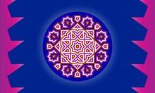 Blue, Purple Color Mandala. For Design, Greeting Card, Invitation, Coloring Book. Arabic, Indian, Motifs. Vector Illustration.
