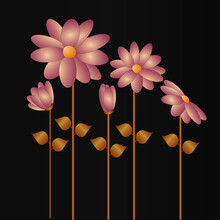 Pink And Gold Flowers Vector On Grey Background With Copy Space.