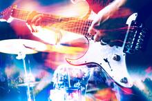 Fondo Musical. Concierto Y Detalle De Guitarra Eléctrica. Música Rock Y Festivales De Música En Vivo.