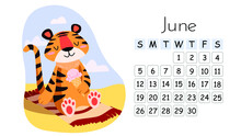 Horizontal Desktop Children's Calendar Design Template For June 2022, The Year Of The Tiger In The Chinese Calendar. Cute Tiger Sunbathing On The Beach With Ice Cream. The Week Starts On Sunday.