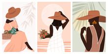 Set Attractive Young Woman In A Hat Sits With A Basket Of Flowers In A Long Romantic Dress. Modern Minimalistic Abstract Portrait Of A Dreamy Girl For Postcard Poster, Social Media, Banner. Vector.