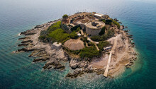 Aerial View Of Mamula Island, Rondina. Fort Mamula Preventing The Enemy Entrance Into The Bay Of Kotor. Montenegro