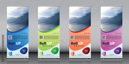 Roll up banner design collection with red green blue purple colorful artwork and image. Editable vertical template vector set, modern standee and flag banner