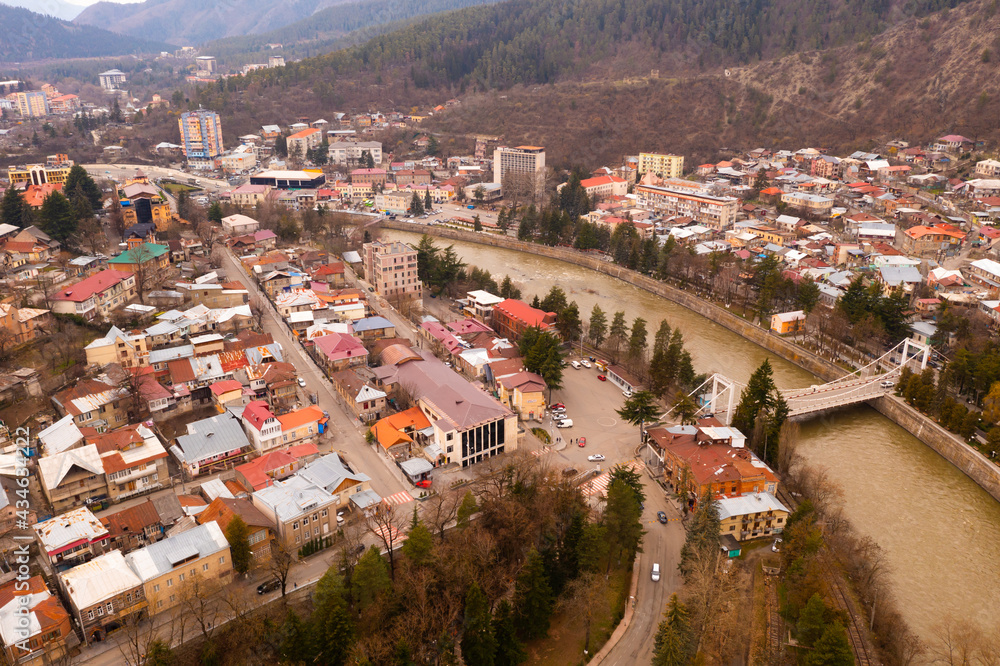 View of Borjomi resort town and Mineral water park from mountain. Georgia