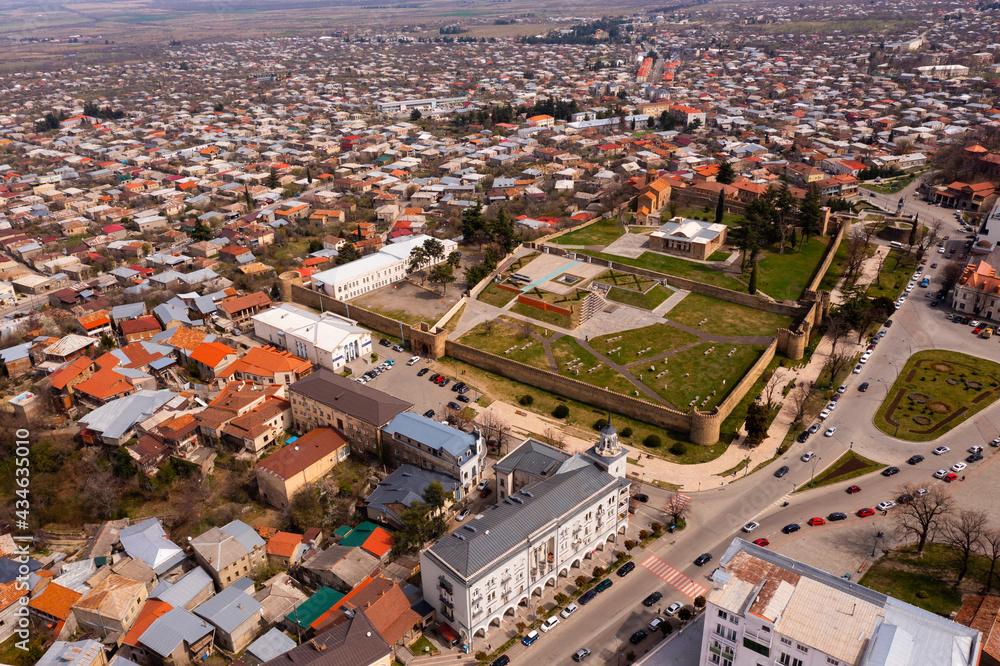 Scenic cityscape of town Telavi in Alazani river plain, Georgia