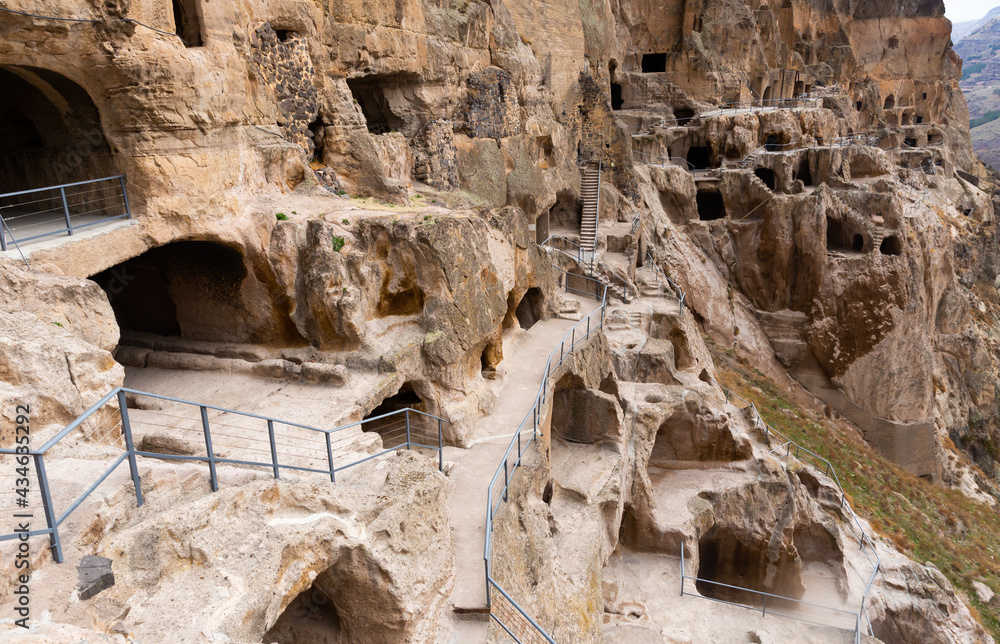 View of the historical cave city and monastery complex of Vardzia in Samtskhe-Javakheti, Georgia