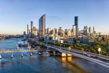 Brisbane City At Sunrise In Australia