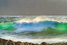 Ocean Wave In Ocean Translucent Green, Light Through, Curl
