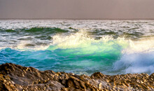 Green Wave In The Ocean At The Beach, Translucent, Spray