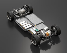 Cutaway View Of Electric Vehicle Chassis With Battery Pack On Black Background. 3D Rendering Image.