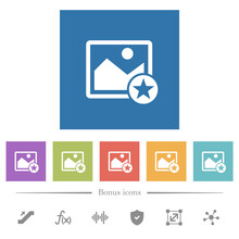 Rank Image Flat White Icons In Square Backgrounds