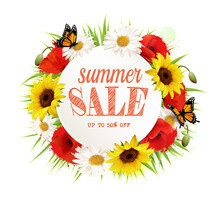 Summer Sale Background With Poppies, Sunflowers And Butterflies. Vector.
