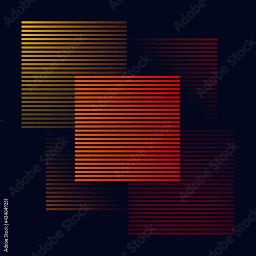 Minimalistyczne tło z paskami i kwadratami w pomarańczowym, żółtym i czerwonym kolorze. Kompozycja geometrycznych neonowych kształtów.