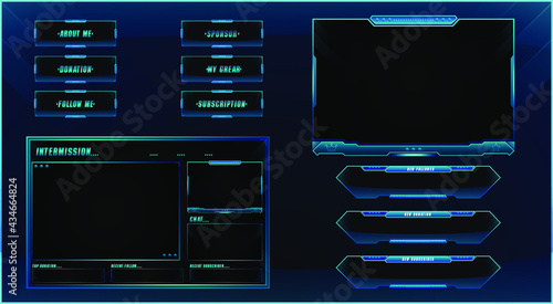 Fotografija Twitch streaming panel overlay design template Premium Vector with different pan