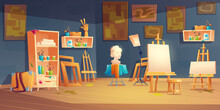 Art Studio, Classroom With Easels, Paints And Brushes On Shelves, Bust And Paintings On Wall. Vector Cartoon Interior Of Artist Workshop, School Class With Equipment For Education Children To Draw