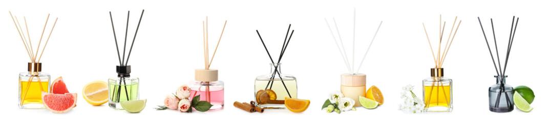 Set of air fresheners on white background