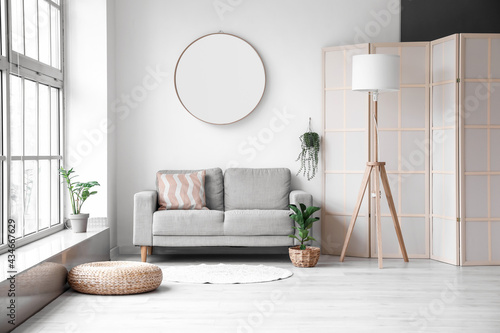 Interior of modern room with comfortable sofa, mirror and lamp
