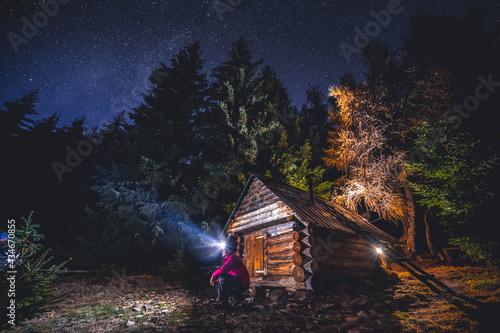 Mountain night landscape with night sky Fototapet