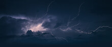 Storm. Lightning In The Landscape.Thunderstorm Clouds With Lightning
