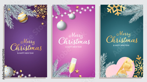 Fotografia Set of Merry Christmas and Happy New Year banner with champagne