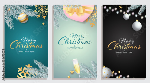Fotografia Set of Merry Christmas and Happy New Year banner with fir