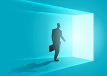Businessman Wallking Into Bright Door