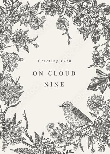 Obraz na plátně Invitation card with a bird and flowers.