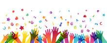 Colorful Children Hands Up And Fun Letters Confetti. Horizontal Border. Kids Creative Conceptual Vector Illustration.