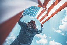 USA Citizen With American Flag. 4th Of July. Freedom. Independence Day. Memorial Day.