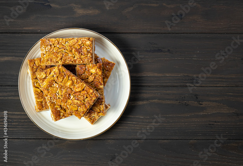 Canvas Print Florentines or Bee sting, thin shortbread cookies covered with candied almond with honey