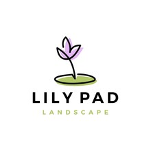 Lily Pad Flower Landscape Landscaping Logo Vector Icon Illustration