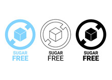 Sugar Free Icon. Sugar Cube In Circle Sign. No Sugar Added Product Package Design. Blue, Outline And Black Sugar Free Food Symbol. Vector Label