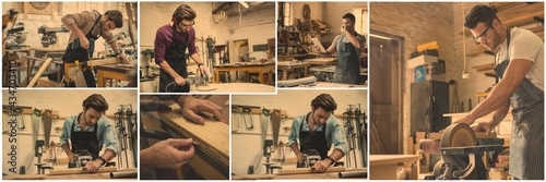 Composite of seven image of male carpenter working in workshop Fototapet