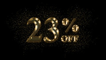23 Percent Off, Gold Text Effect, Gold Text With Sparks, Gold Plated Text Effect