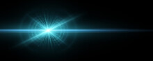 Stylish Tech Blue Light Effect Isolated On A Dark Background. Vector Footage For Your Project. Explosion With Glowing Sparks. Magic Beams. Bright Flare With Horizontal Rays.