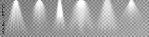 Stampa su Tela Set of Spotlight isolated on transparent background