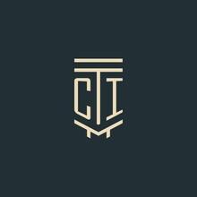 CI Initial Monogram With Simple Line Art Pillar Logo Designs