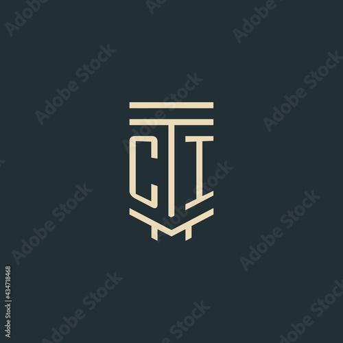 Fényképezés CI initial monogram with simple line art pillar logo designs