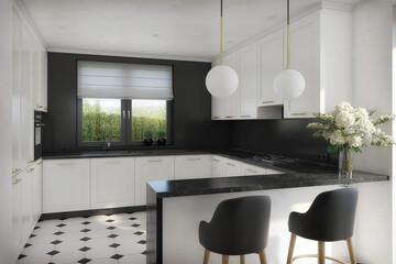 elegancka biało czarna kuchnia w stylu klasycznym