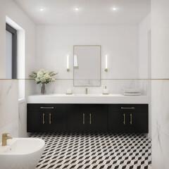 biało czarna modna łazienka w stylu klasycznym