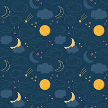 Vector Seamless Pattern Of The Night Sky With Moon, Cloud, Star. Children's Design For Nursery, Poster, Fabric, Textile, Print, Wallpaper.