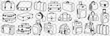Suitcase Traveling Luggage Doodle Set. Collection Of Hand Drawn Various Suitcases Of Different Shapes And Styles For Trips In Rows Isolated On Transparent Background