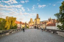View Of Prague, Charles Bridge, Vltava River, St. Vitus Cathedral On A Sunny Day