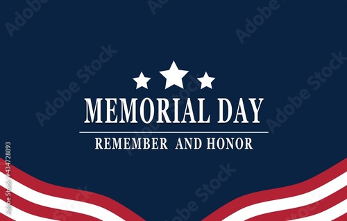 Memorial Day - Remember and honor with American flag, Vector illustration