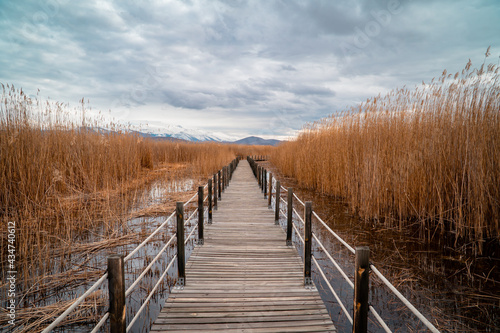 Stampa su Tela Wooden bridge leading through marshes and lakes inside the Central Anatolian Sul
