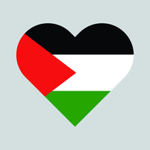 Free Palestine With The Flag Of Palestine As A Heart Vector Illustration