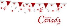 Canada Day Vector Illustration, Canadian Flag And Maple Leaves, Red And White Vector