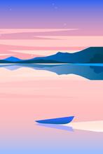 Minimalist Geometric Lakeside Landscape